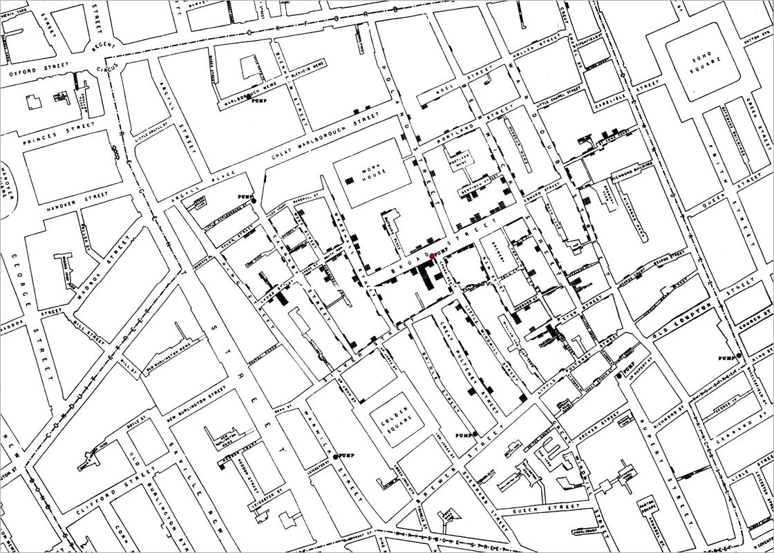 Early info graphics: cholera map